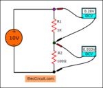 Measuring voltage in series circuit