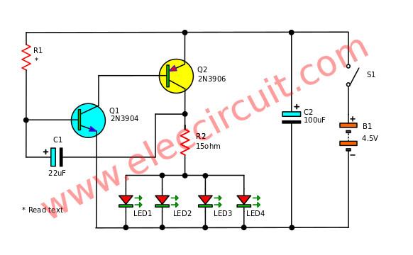 Fast-blinking-LED-bike-light-circuit
