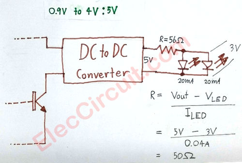 the step up DC to DC converter circuit to drive 2 LEDs