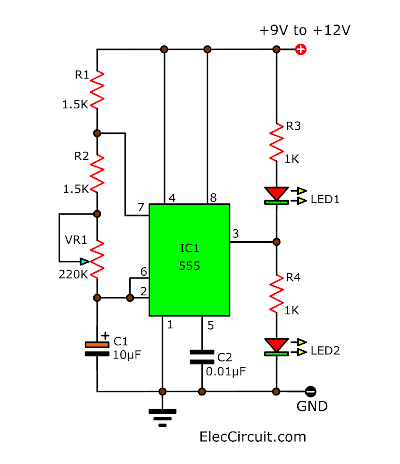 ic 555 led flasher eleccircuit com rh eleccircuit com Safety Flasher Light Circuit LED Flasher Circuit Schematic