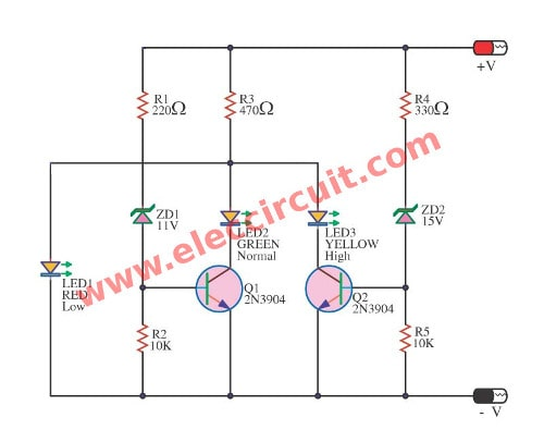 4 led voltage indicator circuits eleccircuit com