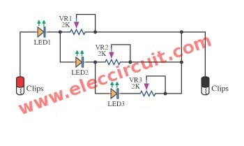4 led voltage indicator circuits eleccircuit comsimple three step level indicator