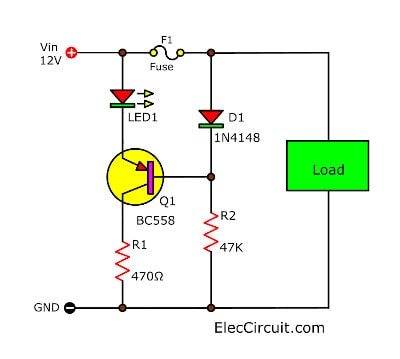 Blown Fuse indicator circuit with LED Display