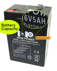 Battery capacity for charging rate
