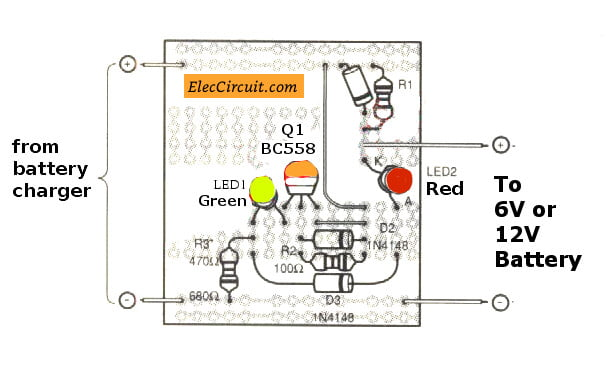 Battery full charge alarm circuit - ElecCircuit com