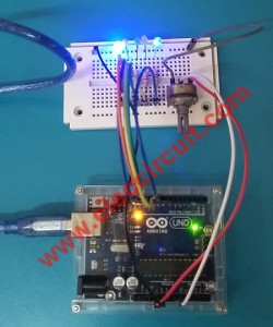5 LED chaser using Arduino, with control potentiometer