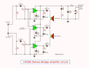 LM386 stereo amplifier in bridge 2 watts