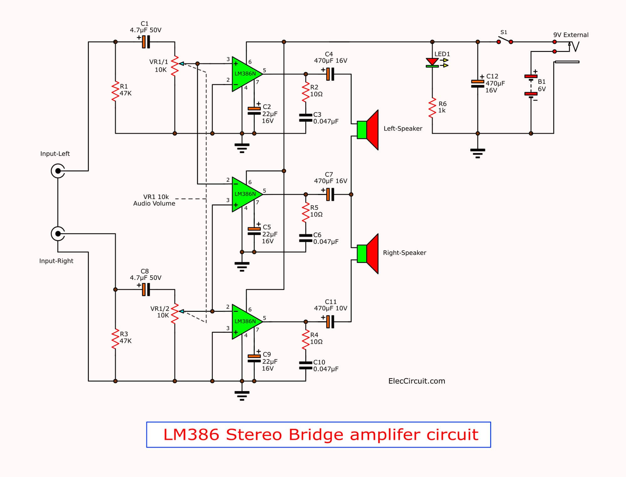 LM386 amplifier stereo 2 watts