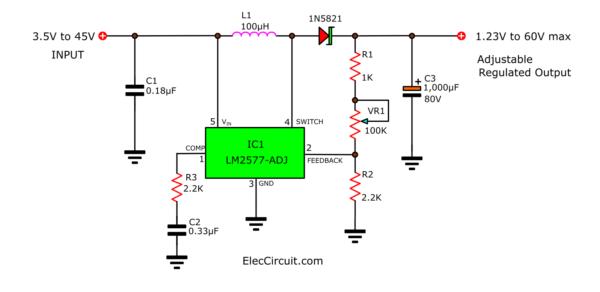 1.23V to 60V Adjustable Regulated supply using LM2577-ADJ