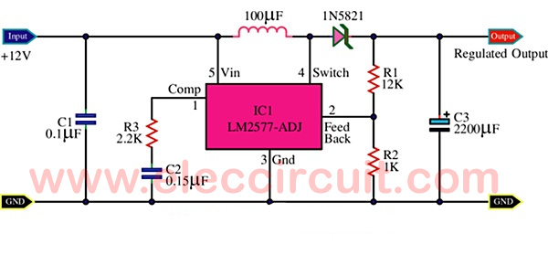 12v to 16v step up dc to dc converter using lm2577 eleccircuit com12v to 16v dc dc converter using lm2577