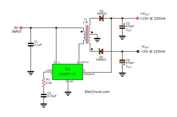 3.7V 5V to +15V -15V DC DC Converter Step up Boost Dual Voltage