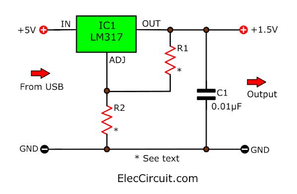5V to 1.5V DC converter circuit