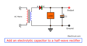 Add electrolytic capacitor to half-wave rectifier