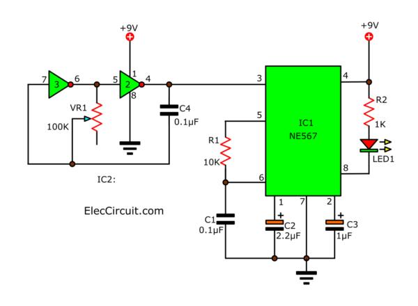 Basic tone detector using NE567