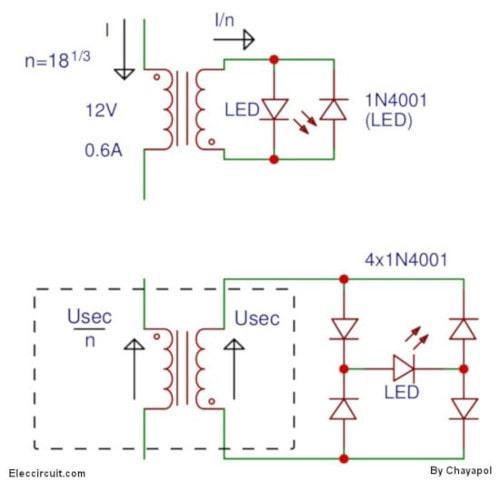 current transformer AC load LED Indicator circuit