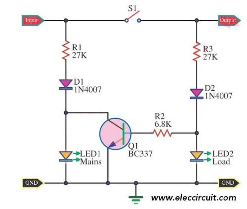 AC line LED indicator circuit
