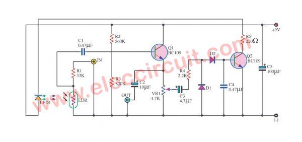 Simple automatic sound control circuit diagram