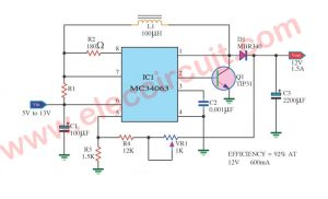 12V stable battery voltage regulator circuit using MC34063