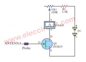 Electro meter circuit using 2N3819 FET