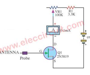 Electro meter circuit using 2N3819 FET