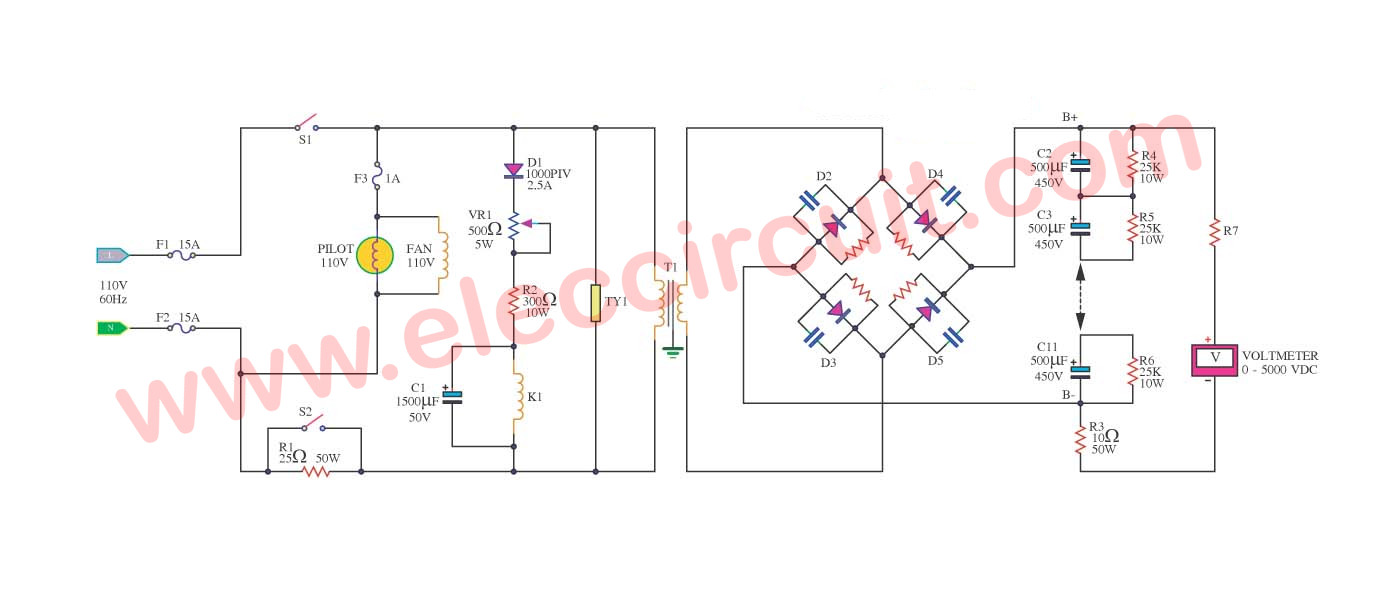 Relay Coil Schematic Automotive Wiring Diagram Circuit Symbol High Voltage Power Supply 3000v Eleccircuit Com