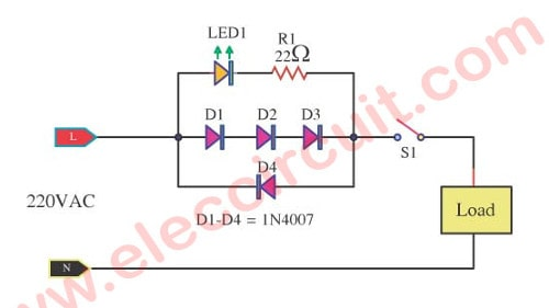 many simple led ac mains voltage  current indicator circuits