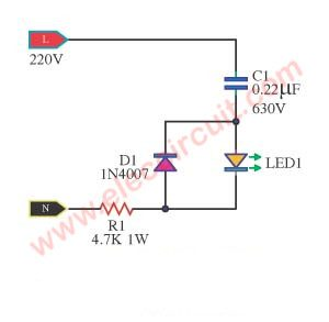 Simple One LED AC line indictor circuit
