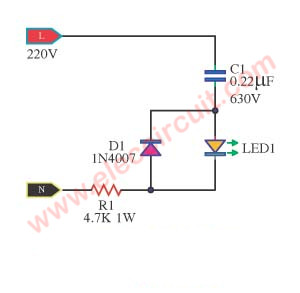 simple ac mains voltage indicator circuit with led eleccircuit comsimple ac mains voltage indicator circuit with led