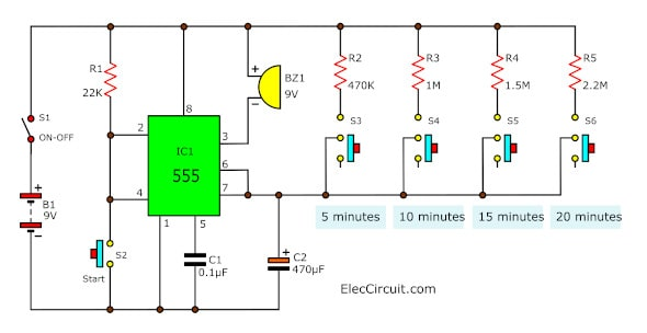 5-30 minuts timer circuit using IC 555