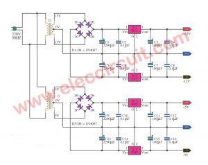 Multi voltage power supply circuit using IC-78xx series