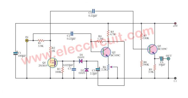 Audio noise filter circuits using 2N3819 FET