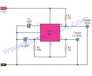 Oscillator generator twin frequencies circuit