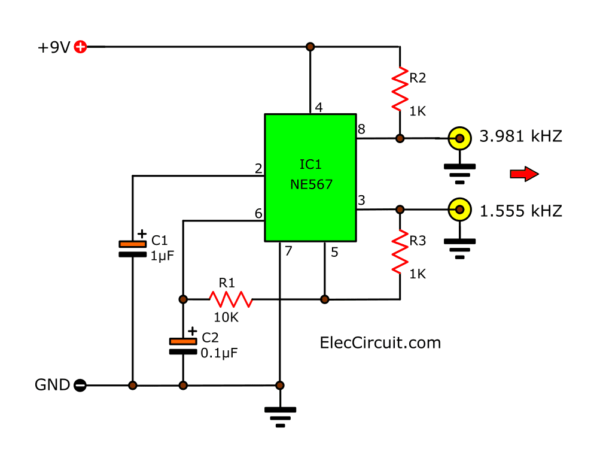 NE567 Oscillator generator twin frequencies circuit