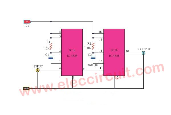 Pulse delayer circuit using CD4528