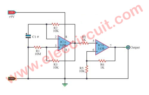 Basic pulse generator using IC-1458