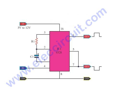 Simple Monostable Multivibrator circuit using CD4528