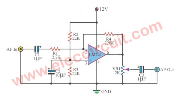 Universal mono preamplifier using LM741