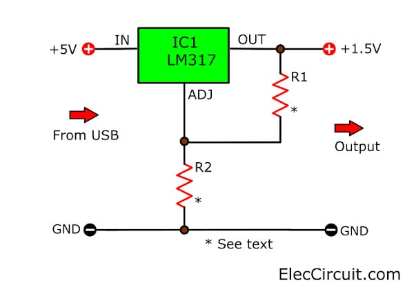 USB 5V to 1.5V Step Down Converter