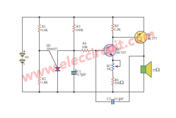 Simple Warble tone generator circuit