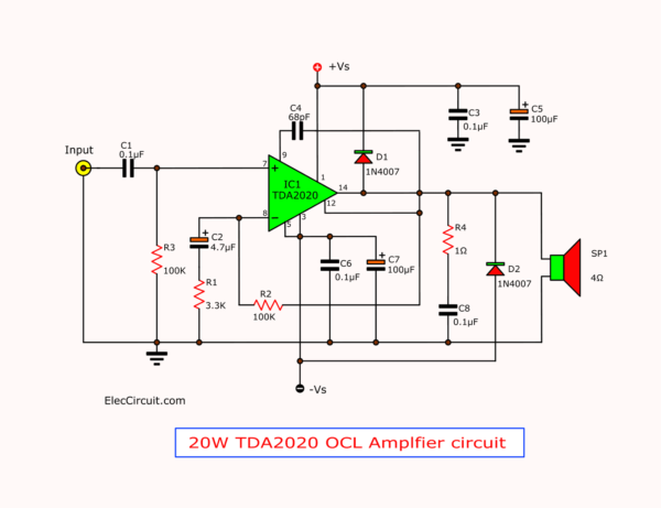 20W TDA2020 OCL Power Amplifier Circuit