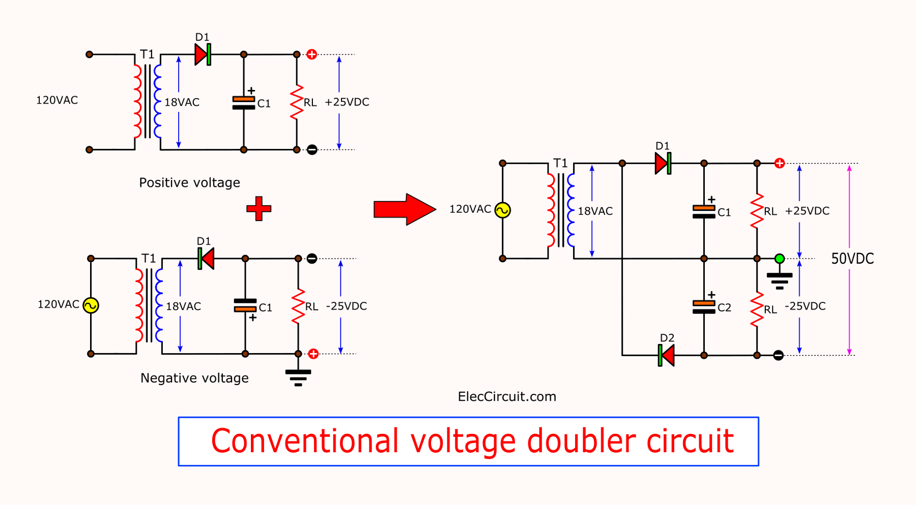 DC Voltage Doubler and Voltage Multiplier Circuits working