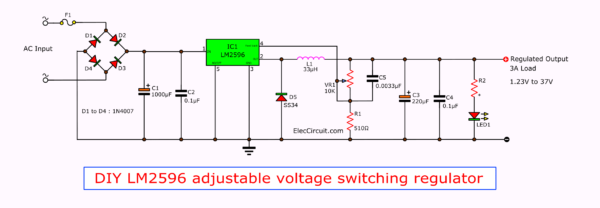 DIY LM2596 circuit Adjustable Voltage Switching Regulator