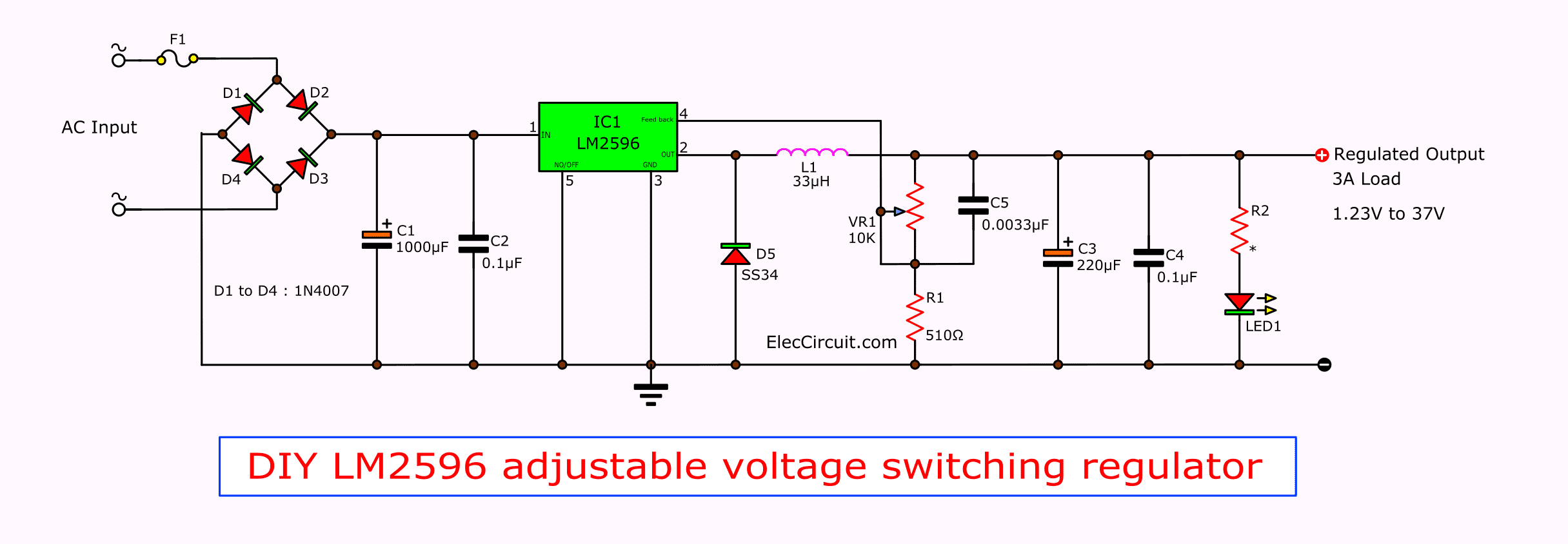 LM2596 circuit voltage regulator and datasheet