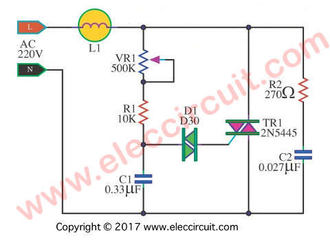 Dimmer circuit using SCR - TRIAC