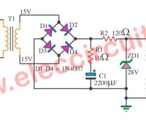 Simple dual rail voltage regulator using zener diode