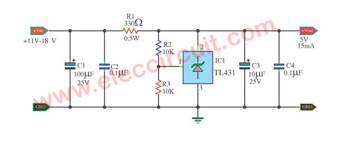 TL431 circuit Adjustable Shunt (zener) Regulator