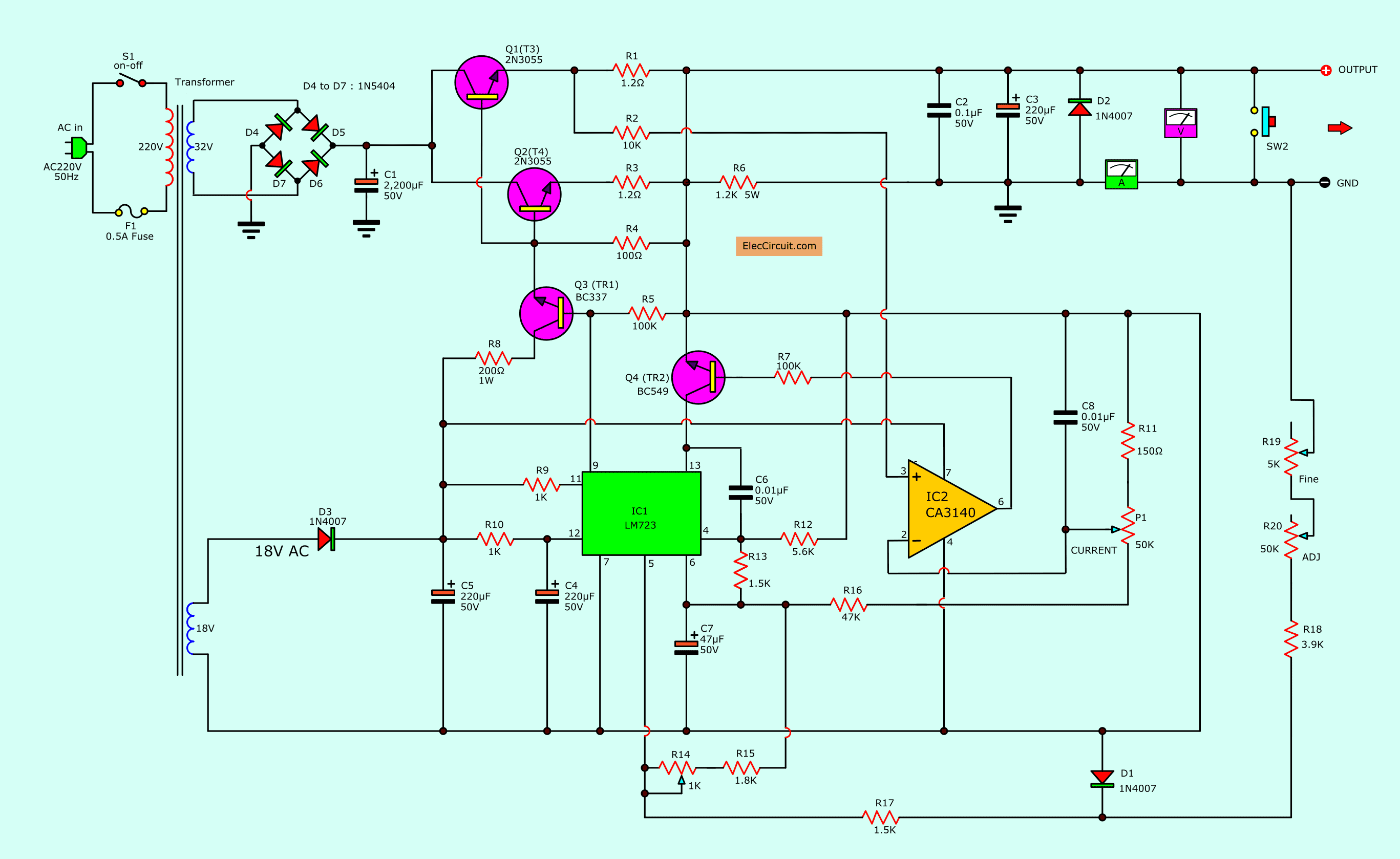 0 30v 0 5a regulated variable power supply circuit eleccircuit com power supply wiring diagram circuit circuit_of_ 0 30v 5a variable benchtop power supply using lm723,ca3140,2n3055