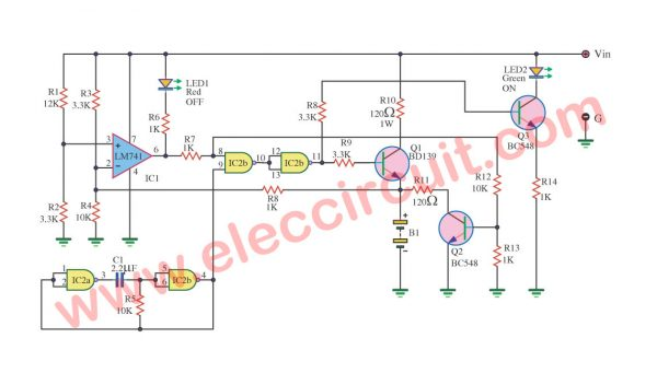 Dry Cell Battery Charger using LM741 and IC4011