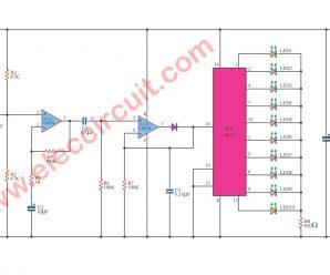 Dancing LED with Music circuit diagram