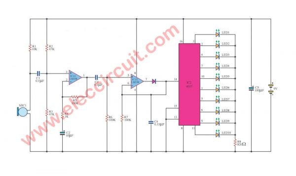 Led light movement the audio signal with LM358- IC 4017